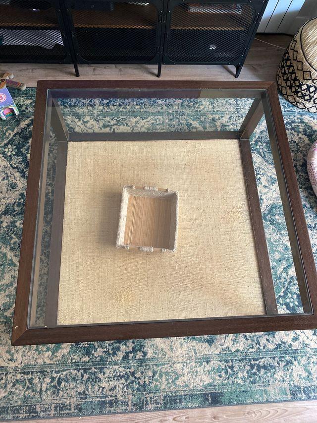 Mesa centro madera y cristal 1*1