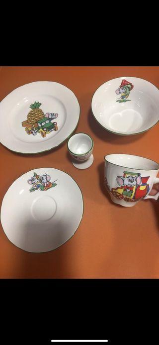 Vajilla bebe porcelana, 5 piezas.