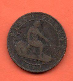 MONEDA DE ESPAÑA GOBIERNO PROVICIONAL 1870 5 CENTI