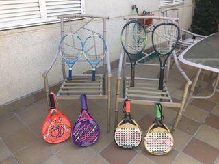 Lote palas padel y raquetas tenis
