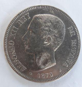 5 Pesetas de Alfonso XII. Año 1876.