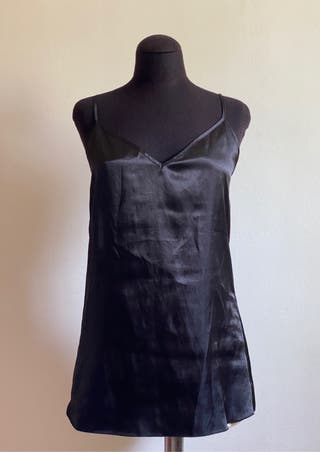 Camisón lencero negro satinado talla S