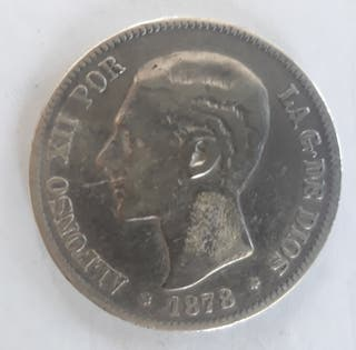 5 Pesetas de Alfonso XII. Año 1878.(*18-78)