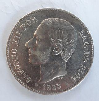 5 Pesetas de Alfonso XII. Año 1885