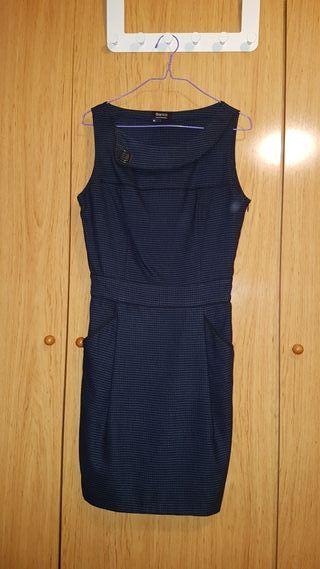 Vestido fiesta azul oscuro cuadros S