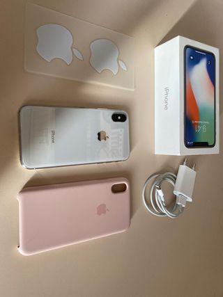 Iphone X blanco + cargador, protector y funda