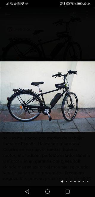 Bicicleta de ciudad convertida a eléctrica.