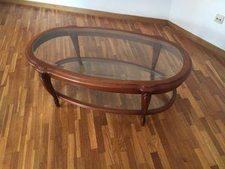 Mesita sofá madera y cristal dos niveles