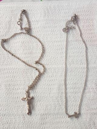 Lote cadenas de plata con crucifijo