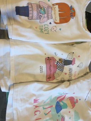 Lote 7 camisetas manga larga niña