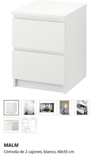 Mesa Noche / Cómoda Malm. Ikea. Incluye Cristal!