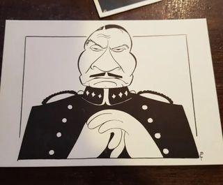 Postal de LAURENCE OLIVIER en una caricatura
