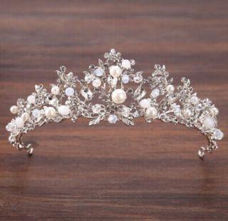 Tiara corona perlas boda novia diadema princesa