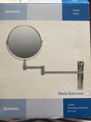 Espejo aumento metal baño