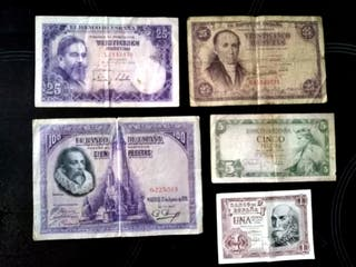 Billetes pesetas (lote 5 ud)