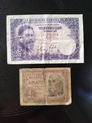 Billetes pesetas antiguos (2 ud)
