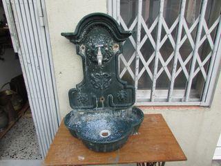 Fuente jardín antigua aluminio hierro completa