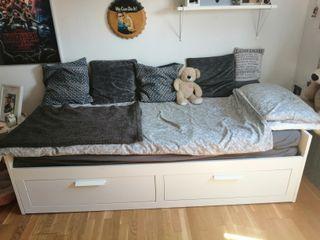 IKEA Brimnes bed, IKEA Trofast unit, desk + chair