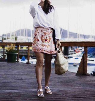 Falda pantalón bordados Zara