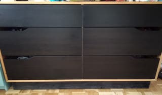 Dormitorio Mandal Ikea negro y madera