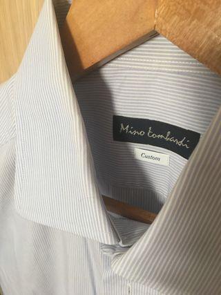 Camisa hombre rayas azul claro