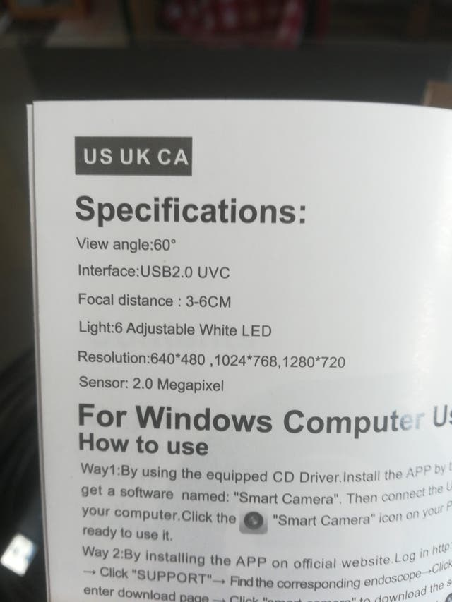 Cámara endoscopio USB