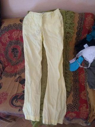 pantalón lino amarillo mango 34