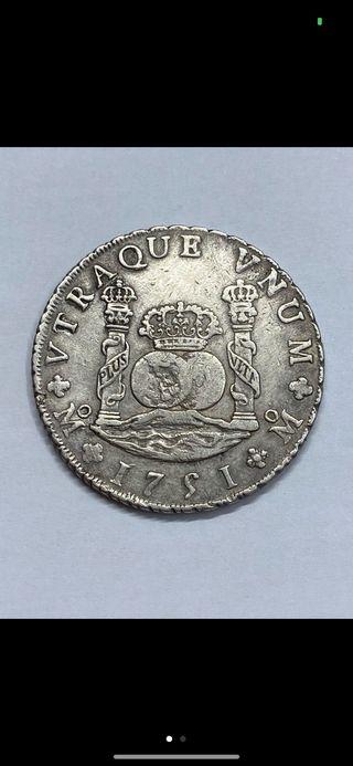 Moneda plata 8 reales columnario Mexico 1751
