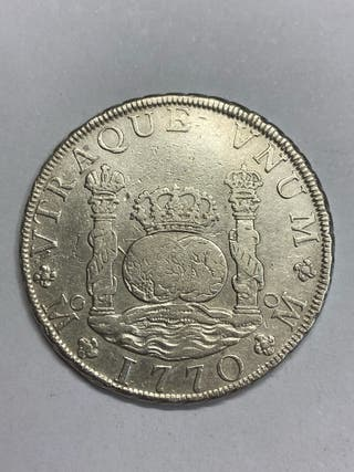 Moneda plata 8 reales columnario Mexico 1770
