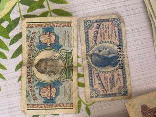 Monedas y Billetes antiguos.