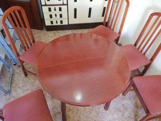 Mesa redonda 90cm,extensible + 5 sillas tapizadas