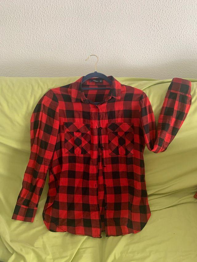 Camisa cuadros negra y roja