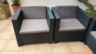 Conjunto muebles terraza sofá 2 plazas y 2 sillon