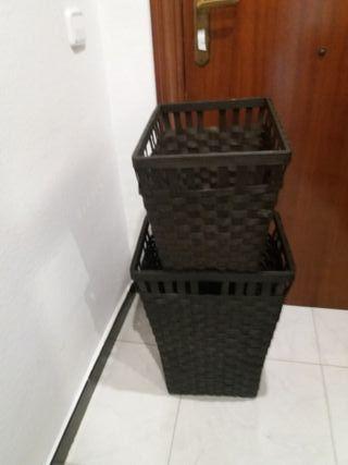 2 cestas ropa mimbre