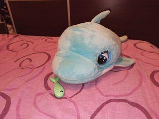 gran delfin de peluche con sonidos de autentico de