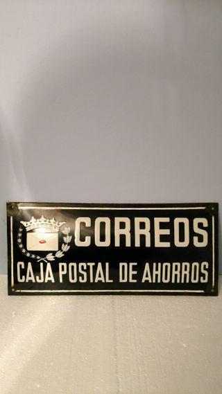 Cartel / chapa antiguo de Correos, vintage, retro.