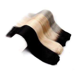 Hair extensions weave in from