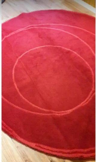 Alfombra Ikea pura lana redonda roja