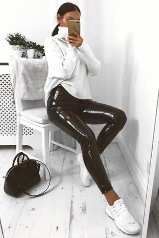 Rebellious Fashion Black Vinyl Leggings