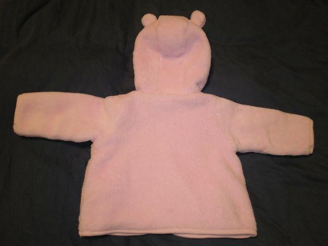 Abrigo bebé rosa con capucha, 6-12 meses