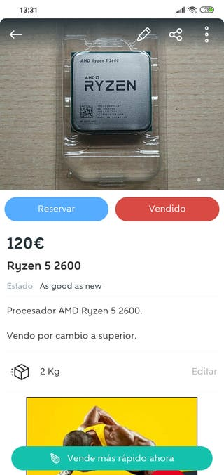 Pack ordenador AMD Ryzen 5 2600 + RX 570 + caja