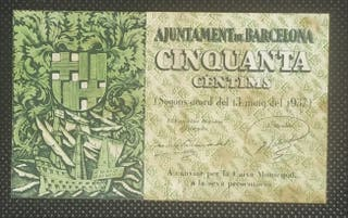 Billete Local 50 Centimos 1937 Barcelona