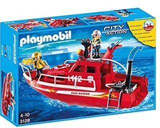 playmobil: barco de bomberos con bomba SIN ABRIR