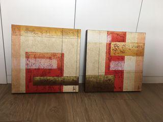 2 cuadros óleo sobre lienzo