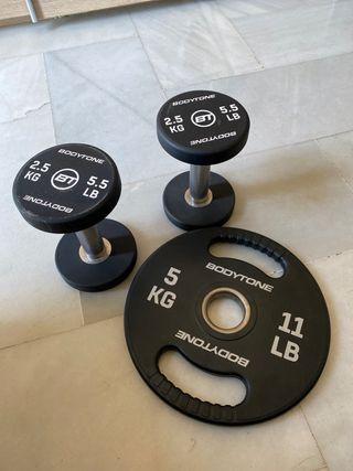 Par de Mancuernas 2,5kg + disco de 5kg