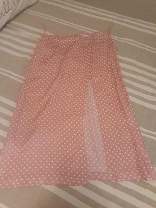 falda midi rosa lunares blancos Zara Talla L nueva