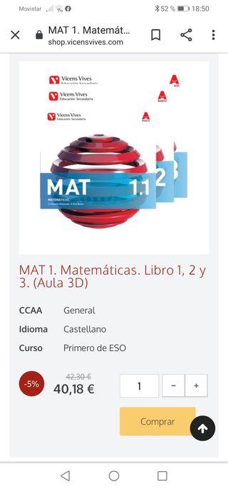 LIBROS DE MATEMÁTICAS DE PRIMERO DE LA ESO..