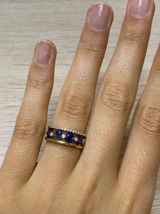 Anillo Oro 18K Zafiros y Diamantes