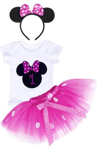 Ropa y decoración cumpleaños Minnie 1 año