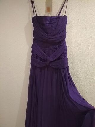 Vestido fiesta morado púrpura MANGO talla S